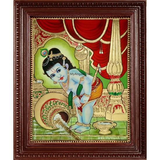 Vennai Thaazhi Krishna Tanjore Painting