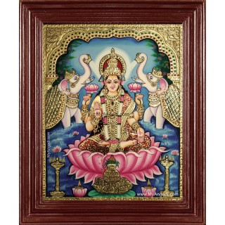 Goddess Gaja Lakshmi Tanjore Painting