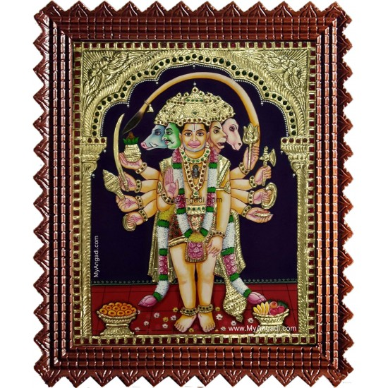 Panchamuga Hanuman Tanjore Painting