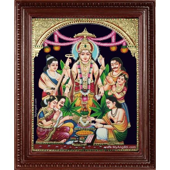 Sri Satyanarayana Swami Tanjore Painting