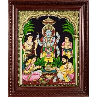 Sri Satya Narayana Swamy Tanjore Painting