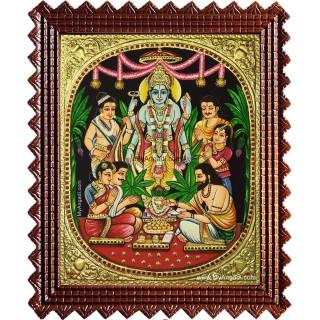 Lord Sathya Narayana Swami Tanjore Painting