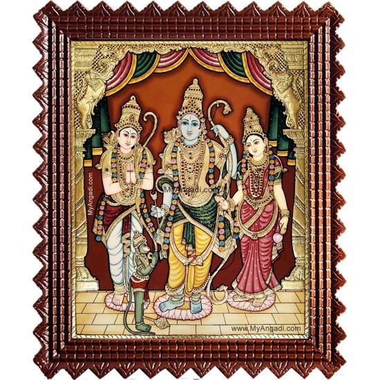 Shri Ramar Sitadevi Lakshmanan Hanuman Tanjore Painting