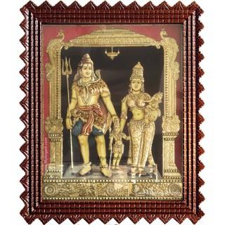 Lord Shiva Parvathi Ganesha Murugan Tanjore Painting