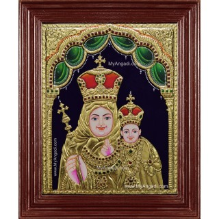Mary With Infant Jesus Tanjore Painting