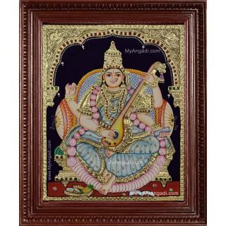 Goddess Saraswati Devi Tanjore Painting