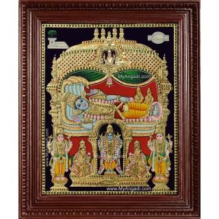 Ranganathar Sri Devi Bhu Devi Tanjore Painting