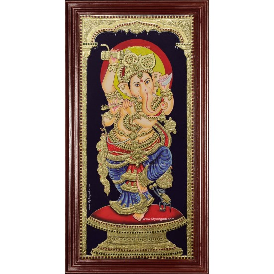 Lord Ganesh Playing Flute Tanjore Painting