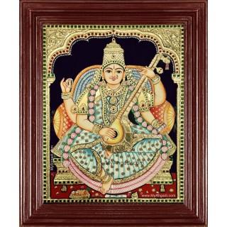 Saraswathi Devi Tanjore Painting