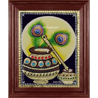Butter Pot Flute Peacock Feather Tanjore Painting