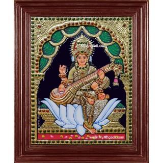 Saraswati Krishna Tanjore Painting