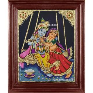 Jhula Radha Krishna Tanjore Painting