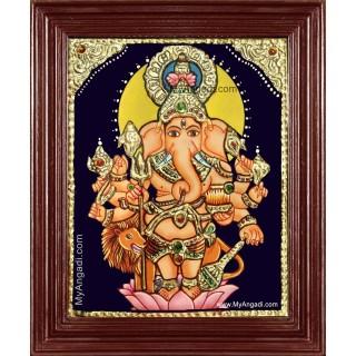 Kan Drishti Ganapathi Tanjore Painting