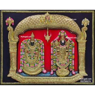 Thirupathi Balaji Perumal Alamelumanga 3d Embossed Tanjore Painting