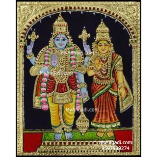 Vishnu and Lakshmi Tanjore Painting, Vishnu and Lakshmi Tanjore Painting