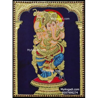 Ganesha Playing Flute Tanjore Painting