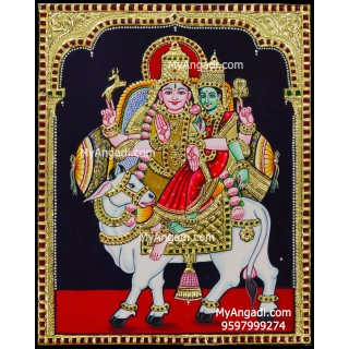 Pradosha Shivan Parvathi Tanjore Painting