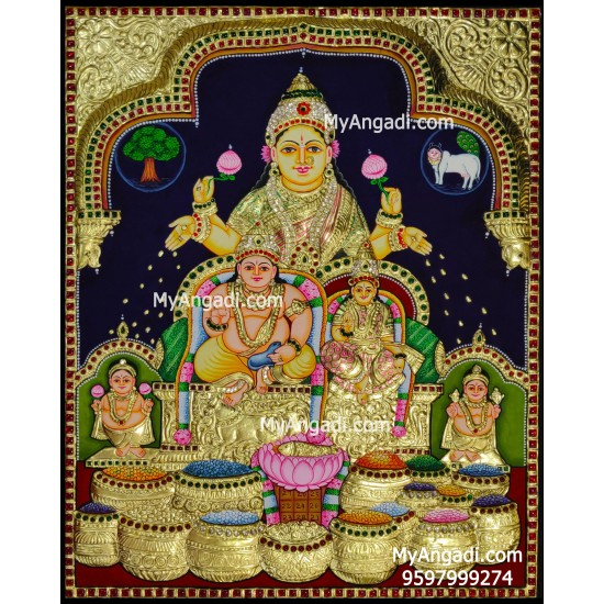 3D Kubera Lakshmi Tanjore Painting