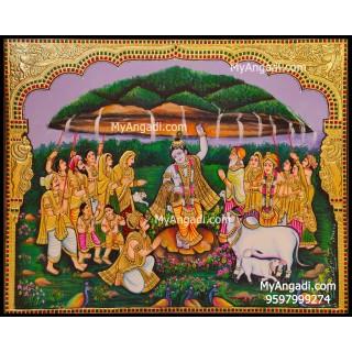 Krishnar Lifting Govardhana Hill Tanjore Painting