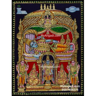 Vishnu with Sridevi Boodevi Tanjore Painting