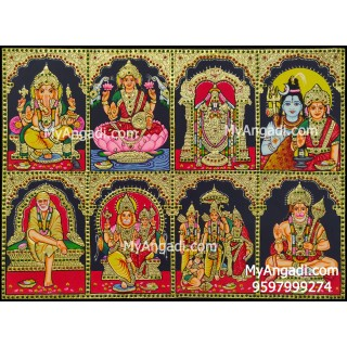 Ganesha, Balaji, Lakshmi, Shivan Parvathi, Saibaba, Lakshmi Narasimmar, Ram Sita, Hanuman - 8 Panel Tanjore Painting