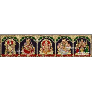 Balaji, Lakshmi, Ganesha, Saraswathi and Murugan - 5 Panel Tanjore Painting