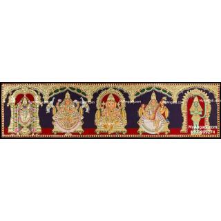 Balaji, Lakshmi, Ganesha, Saraswathi and Hanuman- 5 Panel Tanjore Painting