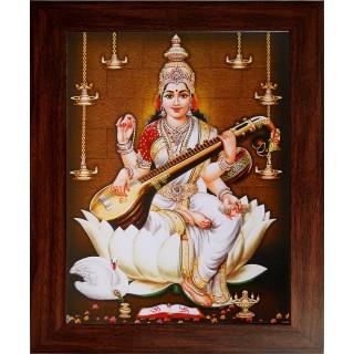 Lord Saraswathi Photo Wooden Photo Frame