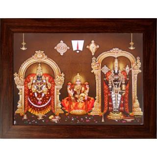 Lord  Thirupathi Balaji with Badmavathi Amman Wooden Photo Frame