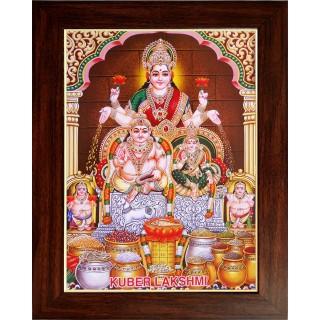 Lord  Lakshmi Kuberar Wooden Photo Frame