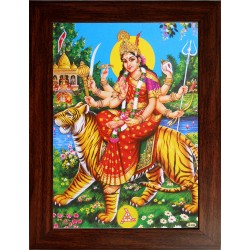 Lord  Durga Wooden Photo Frame