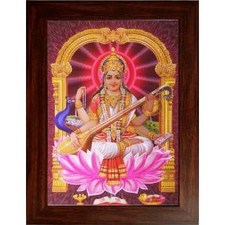 Lord  Saraswathi Wooden Photo Frame