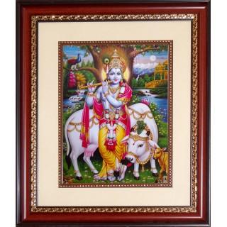 Krishna with Cow Photo Frame Big