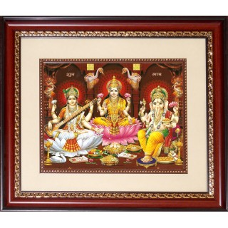 Saraswathi Lakshmi Ganesha Photo Frame Big