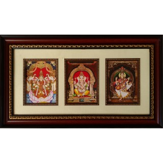 Lakshmi Ganesha Sarawathi Photo Frame