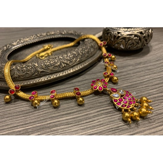 Kanakdharaa - Pure Silver Necklace Dropping Pendants Gold Polish