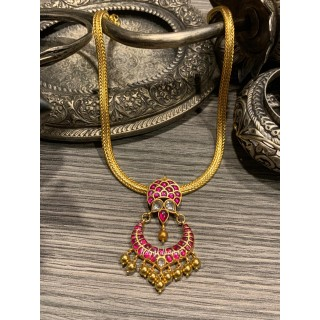 Kanakdharaa - Pure Silver Ruby Kemp Stone Necklace Dropping Pendants Gold Polish