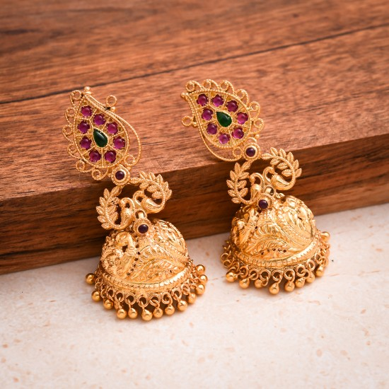 Kanakdharaa - Pure Silver Gold Polished Earrings Jhumukka