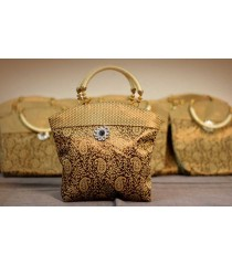 Gorgeous Gold Brown Small Mango Print Bag for Return Gifts