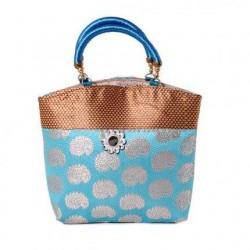 Gorgeous Gold Blue Mango Print Bag for Return Gifts
