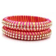 Pink Gold Silk Thread Bangle