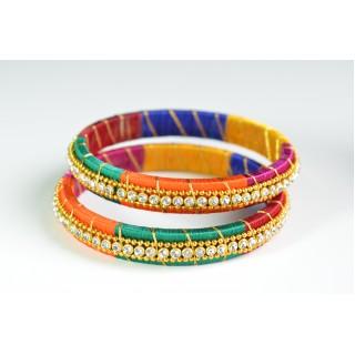 Multi Colour Silk Thread Bangle