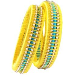 Yellow Sky Blue Silk Thread Bangle