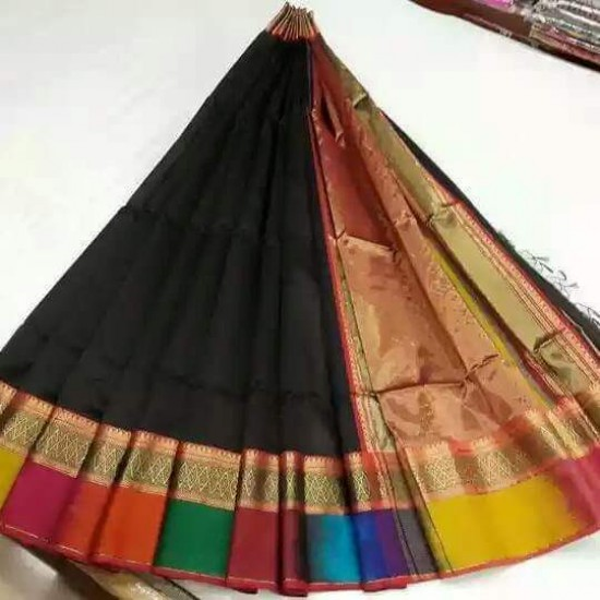 Black Multicolour Silk Cotton Saree