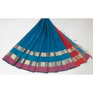 Sky Blue Red Silk Cotton Saree
