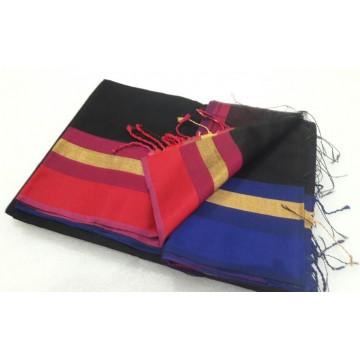 Black Blue Red Silk Cotton Saree
