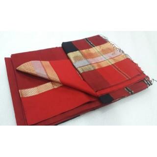 Red Brown Silk Cotton Saree