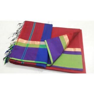 Red Green Blue Silk Cotton Saree