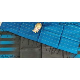 Black Blue Dupion Silk