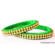 Lime Green Silk Thread Bangles-2 Set